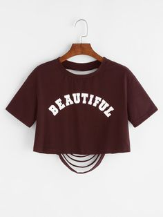 Shop Letter Print Ripped Back Crop T-shirt online. SheIn offers Letter Print Ripped Back Crop T-shirt & more to fit your fashionable needs. Girls Fashion Clothes, Teen Fashion Outfits, Outfits For Teens, Crop Top Outfits, Cute Casual Outfits, Belly Shirts, Cute Crop Tops, Cropped Tops, Cute Shirts