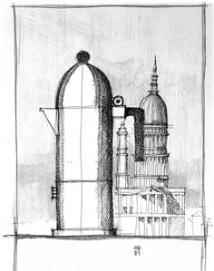 aldo rossi, espresso coffee maker 'la cupola' (sketch), 1985
