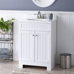 Shop Style Selections Ellenbee White Integral Single Sink Bathroom Vanity with Cultured Marble Top (Common: 25-in x 19-in; Actual: 25-in x 18.5-in) at Lowes.com