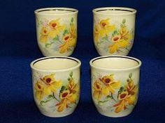 Royal Doulton Orchid Flowers Egg Cups Set D 5215 Vintage China England 1930s