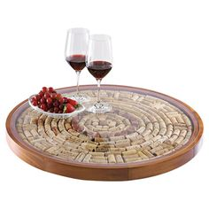 Create a stunning display for your dining table or sideboard with this wine cork tray, showcasing a mahogany wood frame and glass top.