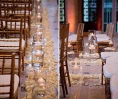 Floating candles cast a soft glow over the ceremony.