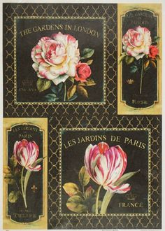 Rice Paper for Decoupage Decopatch Scrapbook Craft Sheet Roses & Tulips on Black