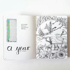 Wonderful inspiration for Year of Pixels. Like this one with beautiful views of winter, spring, summer and fall. Provides a bit of context for the days in your bullet journal.. (Also, interesting minimum of choices for moods.)