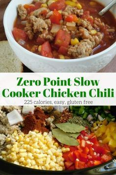 Zero Point Spicy Chicken Chili that's made in the slow cooker couldn't be easier to make and is really delicious. With just enough spice, plenty of veggies, and lean ground chicken you will love all the flavor without any guilt.