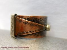 Rustic Mixed Metalwork Copper Sterling Ring. $45.00, via Etsy.