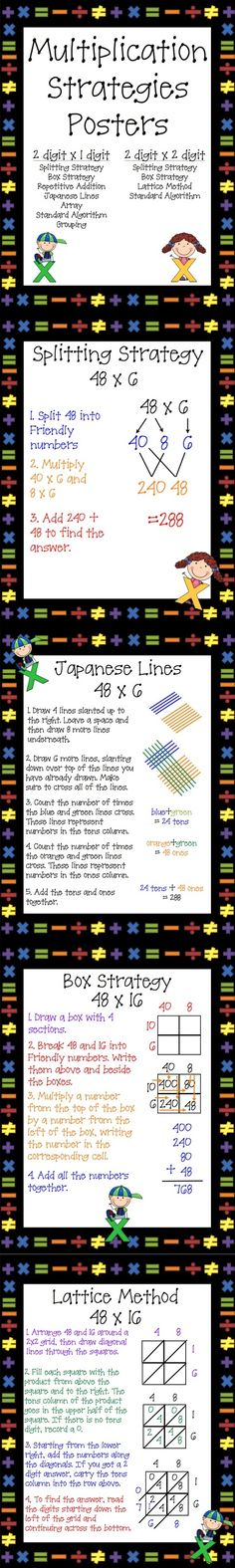 Use these 11 Multiplication Strategies Posters as anchor charts or mini notes for your students. Included in this set are 7 two-digit by one-digit strategies and 4 two-digit by two-digit strategies. Two-Digit by One-Digit Strategies: Splitting, Box, Repetetive Addition, Japanese Lines, Array, Grouping and Standard Algorithm Two-Digit by Two-Digit Strategies: Splitting, Box, Lattice, Standard Algorithm