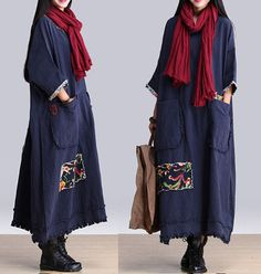 Plus Size Blue Round collar stitching bat sleeve by ElegantGens