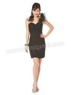 Floral Single Shoulder Strap Sweetheart Neckline Shirring Bodice Cocktail Dress
