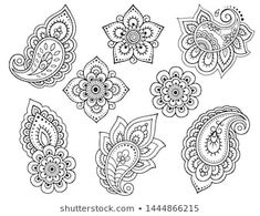Find Set Mehndi Flower Pattern Henna Drawing stock images in HD and millions of other royalty-free stock photos, illustrations and vectors in the Shutterstock collection. Thousands of new, high-quality pictures added every day. Henna Hand Designs, Henna Tattoo Designs, Mehndi Designs, Henna Tattoos, Art Tattoos, Paisley Tattoos, Henna Mandala, Mandala Tattoo Design, Henna Art