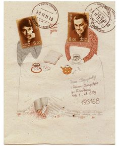 Postage stamps with drawings