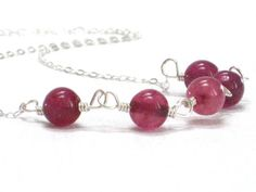 Raspberry Tourmaline Necklace  Dark Pink Sterling Silver by CCARIA, $29.00