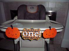 "Pumpkin or Halloween high chair banner ""I am 1""  Boy Birthday, girl birthday. pumpkin birthday, halloween decorations, fall decorations"