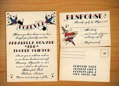 Tattoo Vintage Rockabilly Wedding Invitation by StellarStationary, $1.50