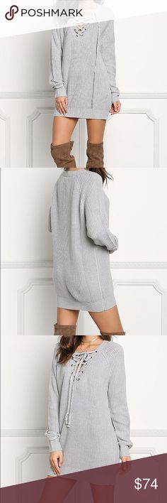 Soft Silver Lace Up Knit Sweater Wake up and lace up with very chic and warm sweater features a plunge V neckline with lace up straps. Long sleeved with a ribbed trim along the hem. Has a boxy silhouette. Looks stylish with sleek bottoms and over the knee boots! Cotton/Acrylic Modeling a size small 20% off bundles otherwise price is firm - I do not trade, please do not ask. Limited quantity. Fashion Chic  Sweaters