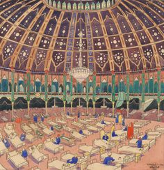 Painting by Douglas Fox Pitt, showing the Dome of Brighton Royal Pavilion during its use as a Military Hospital in 1915. During World War One the Royal Pavilion estate was used as a military hospital for wounded soldiers. Between December 1914 and January 1916 it was solely used for Indian Corps soldiers who had been wounded on the Western Front. The Pavilion, Dome and Corn Exchange housed a total of 724 beds. By 1916, over 4,000 Indians and Gurkhas had been treated there.