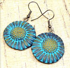 Polymer clay handmade earrings, Sunflower earrings, dangle, blue, yellow, grunge, hippie chic, rustic, gift under 25
