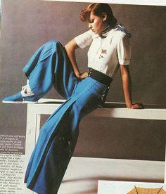 Walter Albini per Basile - Pantaloni con sfondo piega in tela blu smalto