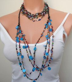 50 Sale off Black Red and Blue Beadeded set Two by seragun on Etsy, $16.00