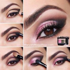 Simple But Dramatic Smokey Eye MakeUp Tutorial - Modish Make Up - Pink Eye Makeup Looks, Beautiful Eye Makeup, Eyeshadow Looks, Pretty Makeup, Love Makeup, Makeup Tips, Makeup Tutorials, Pink Eyeshadow, Beauty Makeup