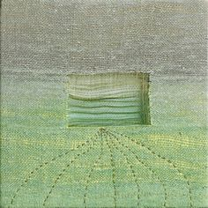 "Karen Henderson. ""Spring Fog"" Hand woven linen and silk, gradation dye, layered with linen fabrics, with stitching and iridescent paint. 14"" x 14"". Private Collection.  Click image to enlarge. Photograph by John Sterling Ruth"