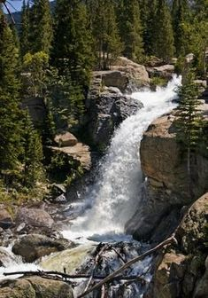 Waterfalls in Rocky Mountain (Colorado) National Park - info about the various falls and hikes thereto