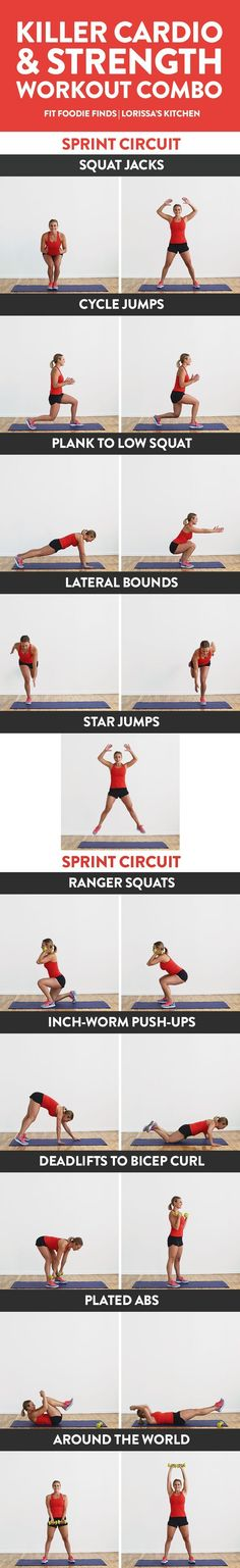 Get your sweat on and do this killer cardio and strength workout combo! It's a mixture of HIIT sprints and strength training all in one for the ultimate calorie torch. Beginner Cardio Workout, Beginners Cardio, Strength Training For Beginners, Hiit, Fun Workouts, Body Workouts, Weekly Workouts, Protein Snacks, High Protein