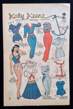 Katy Keene Comic Book Paper Dolls, Bill Woggon Art, Randy and Future Fashions Paper Dolls Clothing, Paper Dolls Book, Victorian Paper Dolls, Vintage Paper Dolls, Comic Book Paper, Comic Books, Comic Art, Animal Coloring Pages, Coloring Books