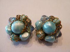 Vintage blue pearl rhinestone aurora borealis cluster earrings filigree cluster earrings costume jewelery spring summer easter on Etsy, $7.40