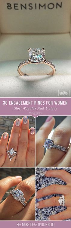 30 Most Popular Engagement Rings For Women ❤ Can't find the right engagement ring? First of all you'll need to select a style. And look at the collection of the most popular engagement rings for women. See more: http://www.weddingforward.com/engagement-rings-for-women/ ‎#engagement #rings