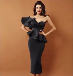 One Shoulder Ruffle Dress Bodycon Cocktail Midi Dress , available in 6 colors, this beautiful dress would make your evening party perfect. Party Dresses For Women, Club Dresses, Ruffle Dress, Ruffles, Bodycon Cocktail Dress, Bodycon Dress, Cocktail Dresses, Black Evening Dresses, Two Piece Dress