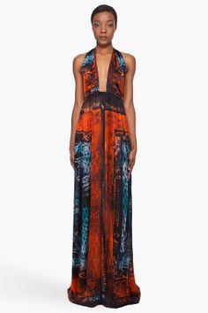 BALMAIN Long Printed Silk Dress
