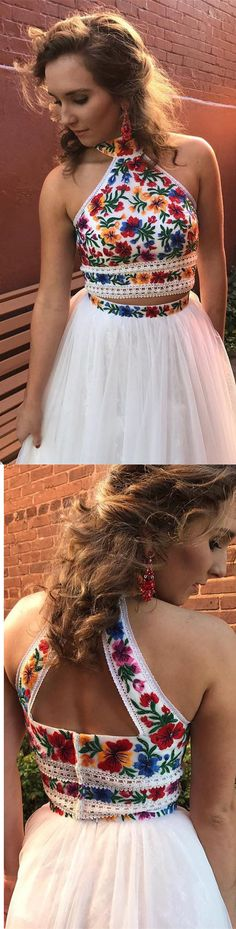 Two Piece High Neck Embroidery White Long Prom Dress #promdress #2018promdress #2k18prom #twopiece #white #floral