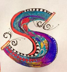"""S"" is for Serenity . for Sherry B-K Alphabet Art, Calligraphy Alphabet, Alphabet And Numbers, Letter Art, Doodle Lettering, Creative Lettering, Zentangle Patterns, Zentangles, Illuminated Letters"