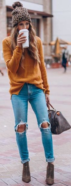 #Winter #Outfits mustard sweater, ripped jeans, brown boots