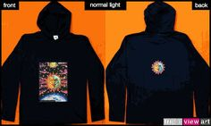 """Magic Sunmoon"" UV-Blacklight Fluorescent & Glow-In-The-Dark Phosphorescent Psychedelic Art Mens Hoodie, £28 in Tripleview Art Web Shop.  #psychedelic #psy #trance #psytrance #goatrance #rave #trippy #hippie #esoteric #mystic #spiritual #visionary #symbolism #UV #blacklight #fluorescent #fluoro #fluo #neon #glow #glowinthedark #phosphorescent #luminescent #art #sunandmoon #sunmoon #kiss #yinyang #aum #om"