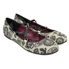 Lovelace Flat Shoes (in cream printed PU) - by Iron Fist at Blue Banana, on sale at £29.99,