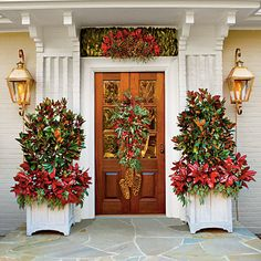 Cheer Up Your Entry Way   Pressed for time but want a big show? Fit a 7-gallon magnolia into a decorative planter, and fill in around the edges with                                            spray-painted magnolia branches and sprigs of seeded eucalyptus. After the holidays, plant the magnolia in the garden. Designed                                            to come together quickly, the look is easy to tailor. Change the plants or colors to suit your taste