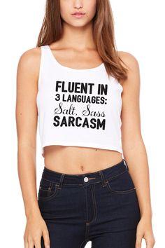 Fluent In 3 Languages - Women's Poly-Cotton Crop Tank