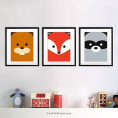 Cute, minimalist forest animal / woodland critter artwork for kid's room or baby nursery: (beaver, fox, raccoon). Gender neutral wall art is perfect for both boys and girls!