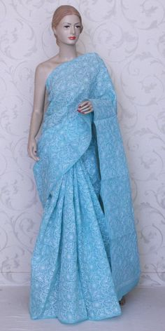 The Blue Chikan Saree for a Cool Comfortable Summer Day.