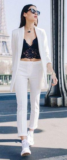 White Blazer, Black Lace Crop Top, White Pants, White Sneakers |Alex's Closet