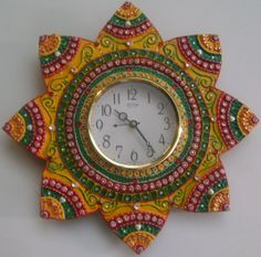 Hand Made Wooden Clocks | hand painted floral clock with clay work floral clock looks great on ...