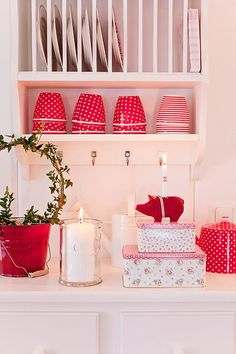 Greengate Filled Christmas with red latte mugs:  striped Juliet red, Zoe linen stripe and Star.