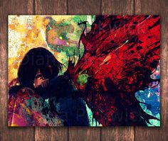 Watercolor Anime Touka Tokyo Ghoul digital poster A3 by DidiPrint