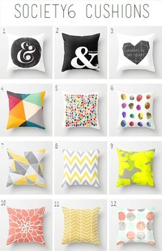 Society6 Cushions and Pillows - colourful cushions, yellow and grey cushions, ampersand - living room and lounge - Whimsy & Grace NZ