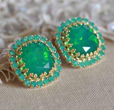 Green Opal Crystal earrings, Crystal Emerald Gold stud earrings, Bridal earrings, gift for woman, Bridesmaids earrings, Trending earrings. by iloniti on Etsy  #opal, #earrings, #jewelry, #crystal, #swarovski, #bridal, #wedding, #stud, #accessories, #chic, #style, #ootd