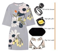 """""""Marni Floral-Patchwork Scuba Dress'"""" by dianefantasy ❤ liked on Polyvore featuring Marni, Hunting Season and Roger Vivier"""