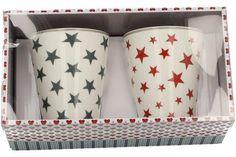 """Becherset (2er) """"Stars"""" mit grauen und roten Steren je 280 ml"""