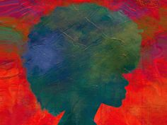 A painting of a side profile silhouette of a black woman with an afro in greens and blues with a bright background of pink, orange, yellow, and purple.